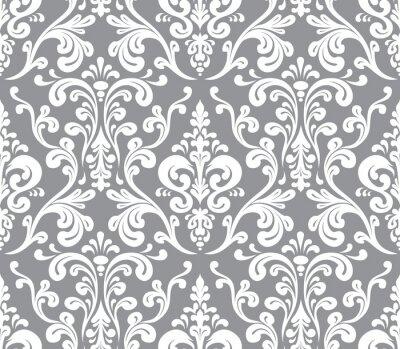 Obraz Vector. Seamless elegantní damaškové vzorek. Šedá a bílá
