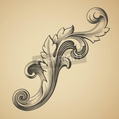 Obraz vector vintage barokní konstrukce rámu vzor element rytí retro styl