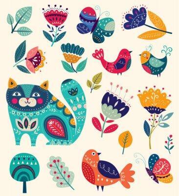 Obraz Vektor kolekce s květinami, dekorativní kočkou, motýlů a ptáků