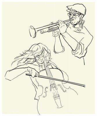 Obraz Vektor skica musicants.