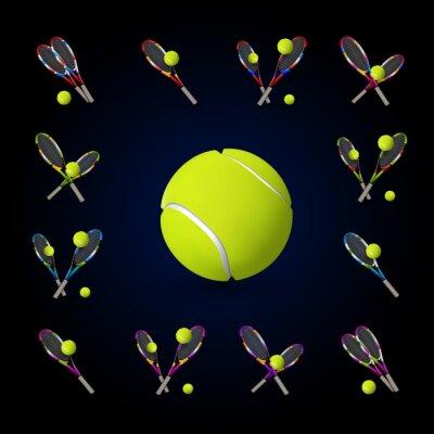 Obraz Vektor tenis Symboly jsou stejné jako konstrukční prvky, tenisové míčky, tenisový r