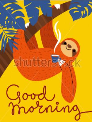 Obraz Vektorová karta s roztomilým lehkým charakterem a šálkem kávy. Dobrý ráno plakát.