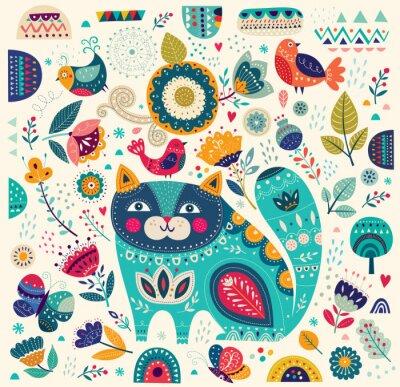 Obraz Vektorové barevné ilustrace s krásná kočka, motýli, ptáci a květiny