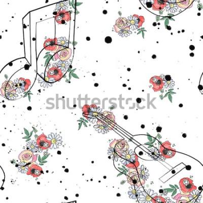 Obraz Vektorové bezešvé pattern grafické ilustrace kytarové noty, květiny listy větev kapání skvrna skvrna inkoust, skvrna, sprej Skica výkresu doodle styl Umělecké abstraktní akvarel silueta
