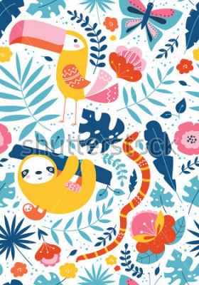 Obraz Vektorové bezproblémové tropické vzorek s roztomilé zvířecí znaky, tukan, lenoch, měl, motýl