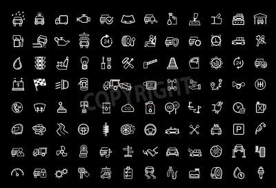 Obraz vektorové černé auto ikony nastavit