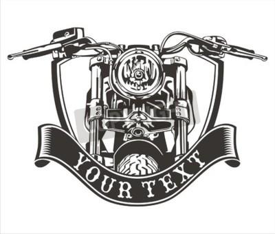 Obraz vektorové design ročník motocykl stuhou níže