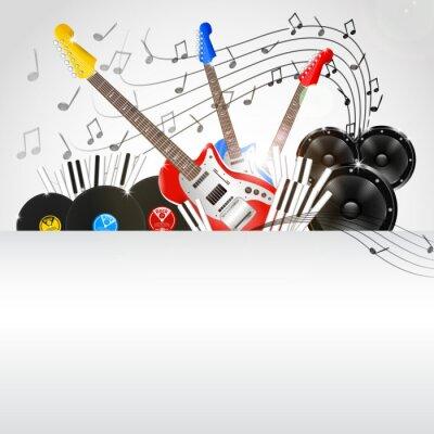 Obraz Vektorové hudební pozadí s nástroji a hudební vybavení