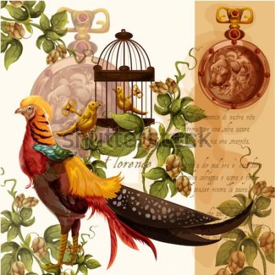 Obraz Vektorové ilustrace digitální akvarel s florence lev a bažant ideální pro textilní tisky a dekorace