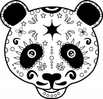 Obraz vektorové ilustrace hlavy černé a bílé pandy