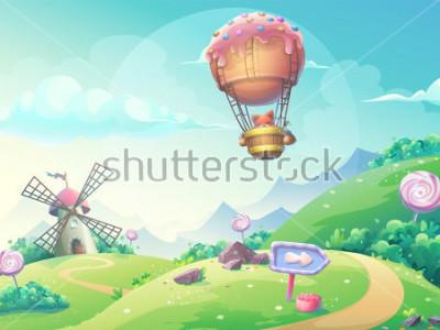 Obraz Vektorové ilustrace krajiny s marmeládou cukroví mlýna a liška v balónku. Pro tisk, vytváření videa nebo web designu, uživatelského rozhraní, karty, plakátu.