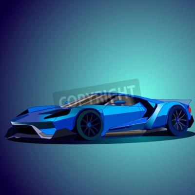 Obraz Vektorové ilustrace nové modré sportovní auto.