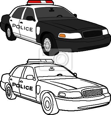 Vektorove Kresleni Z Policejniho Auta Barvy A Linky Obrazy Na Stenu