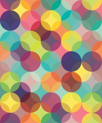 Obraz Vektorové moderní barevné bezešvé vzor geometrie kruhy překrývají, barva abstraktní geometrické pozadí, tapety tisk, retro textura, bederní módní design,