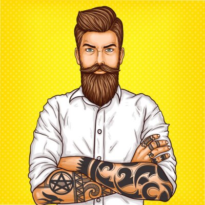 Obraz Vektorové pop art ilustrace brutální vousatý muž, macho s tetováním složil ruce přes hruď