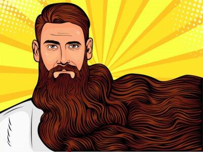 Obraz Vektorové pop art ilustrace brutální vousatý muž, macho s velmi dlouhými vousy nad všemi obraz