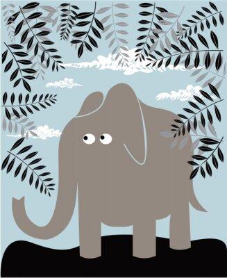 Obraz Vektorové pozadí s slona a listí