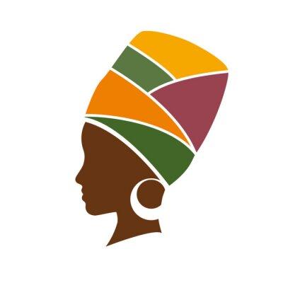 Obraz Vektorové profil africké ženy s kloboukem