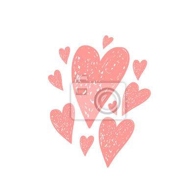 Vektorove Rucne Kreslene Srdce Obrazy Na Stenu Obrazy Vila