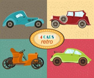 Obraz Vektorové sada čtyř retro auta. Městském provozu vozidla. Ikony vyznačující moderní a retro automobilů, staromódní veteránem. Pestře retro automobilů. Izolovaný. vektorové ilustrace