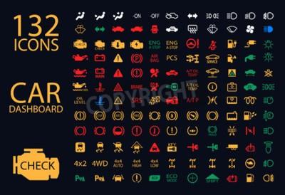 Obraz vektorové sbírka indikátorů auto řídicího panelu, žlutá Red Green Blue ukazatele 132 ikon