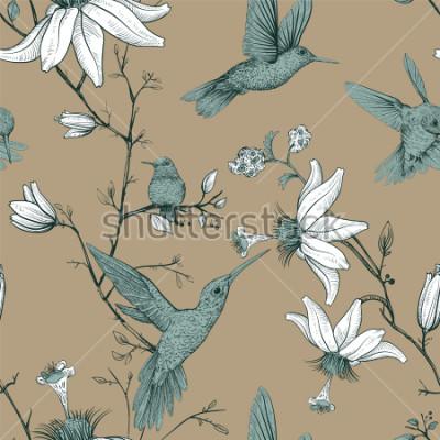 Obraz Vektorové skica vzorek s ptáky a květiny. Starožitný vzor bezešvé s nakreslené květy. Tapeta květinové provence. Design pro web, balicí papír, obal, textil, textilie, tapety