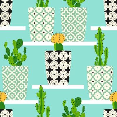 Obraz Vektorové vzorek s kaktusy. Roztomilé kaktus květiny v ozdobných květináčích. Ruční kresba ilustrace.