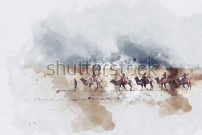 Obraz Velbloudi a lidé chodí po hedvábné cestě a písečné duny, digitální akvarel ilustrace