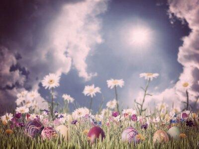 Obraz Velikonoční Vintage pozadí s vejce a květiny