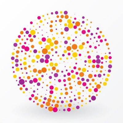 Obraz velký barevný kruh z malých puntíky