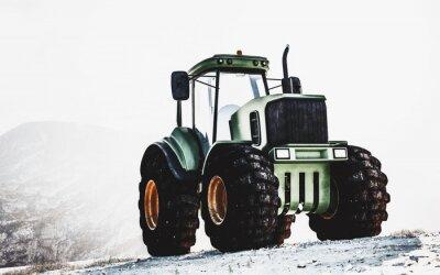 Obraz Velký těžký traktor na horách