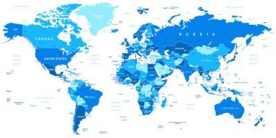 Obraz Velmi podrobné vektorové ilustrace světových map.Borders, zemí a měst.