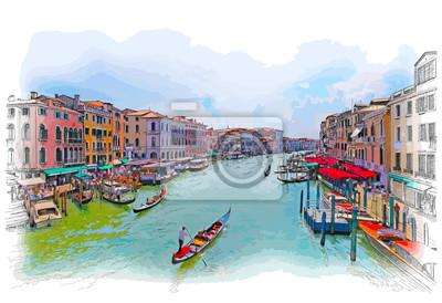 Venice - Grand Canal. Pohled z mostu Rialto. vektorové kreslení