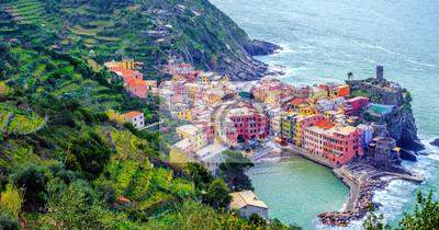 Vernazza town on mediterranean coast, Cinque Terre, Italy
