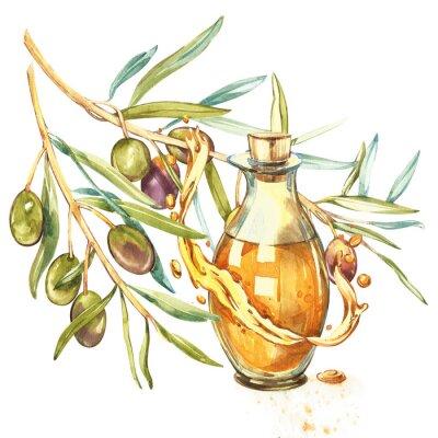 Obraz Větev zralých zelených oliv je šťavnatě nalita s olejem. Kapky a postříkání olivového oleje. Akvarel a botanické ilustrace izolovaných na bílém pozadí.