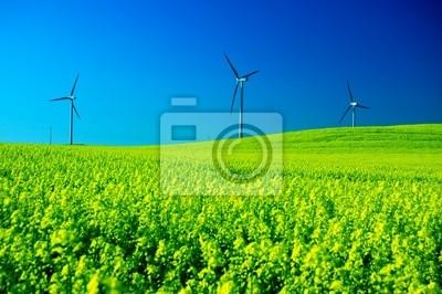 Větrné turbíny.