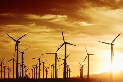Obraz Větrné Turbrines při západu slunce