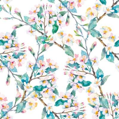 Obraz větví na jaře pattern.Flowering. Akvarel. Vektor.