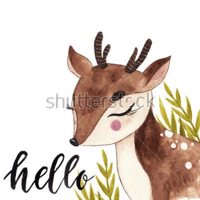 Obraz Vhodné akvarel jelena. Pohlednice s nápisem