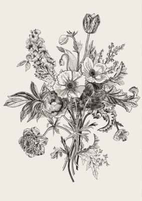 Obraz Victorian kytice. Jarní květiny. Mák, sasanky, tulipány, delphinium. Vintage botanických ilustrace. designovým prvkem. Černý a bílý. Rytina