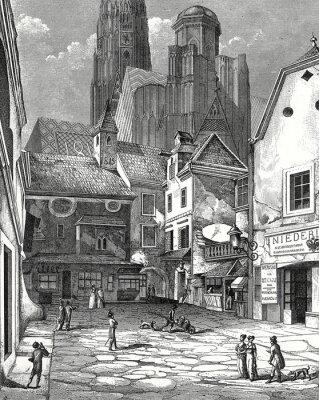 Obraz Vídeň, s katedrále Stephansdom Zwettlhof o 1842, měď rytina šablona
