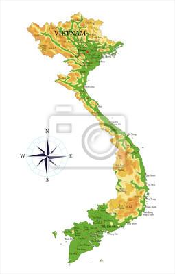 Vietnam fyzická mapa
