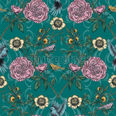 Obraz Viktoriánské zahrady. Květinový vzor bezešvé. Vektorové ilustrace.