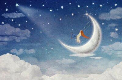 Obraz Víla na koni na houpačce na Měsíci na obloze