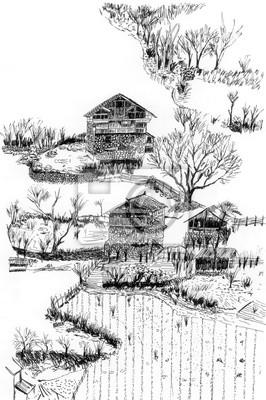 Village a půdy skica