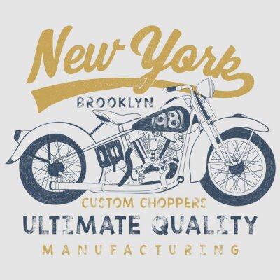 Obraz vinobraní ilustrace motocyklu náčrtek s typografií