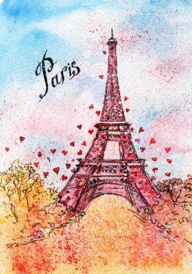 Obraz vinobraní pohlednice. akvarel ilustrace. Paříž, Francie, Eiffelova věž