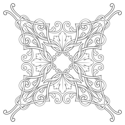 Obraz Vintage barokní rám rytina scroll ornament