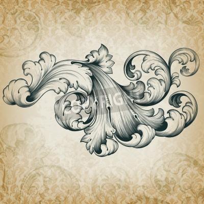 Obraz vintage barokní rytina květinový svitek filigránové konstrukce frameborder acanthus vzor element v retro grunge damaškové pozadí
