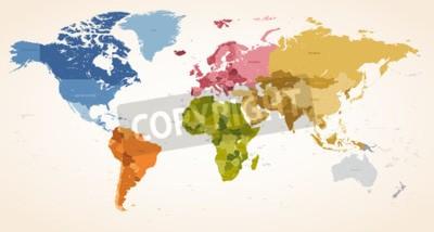 Obraz Vintage barvy High Detail vektorové ilustrace Mapa celé mapě světa.